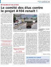 gazette du Val d'Oise 23/12/2020 : article sur le comité des élus contre l'A104